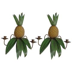 Pair of French Mid-Century Toll Sconces in the Form of Pineapples