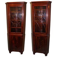 Pair of Sheraton Style Mahogany Corner Cabinets by Old Colony, Boston