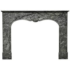 Grey Marble Dutch Louis XV Fireplace Mantel, 18th Century