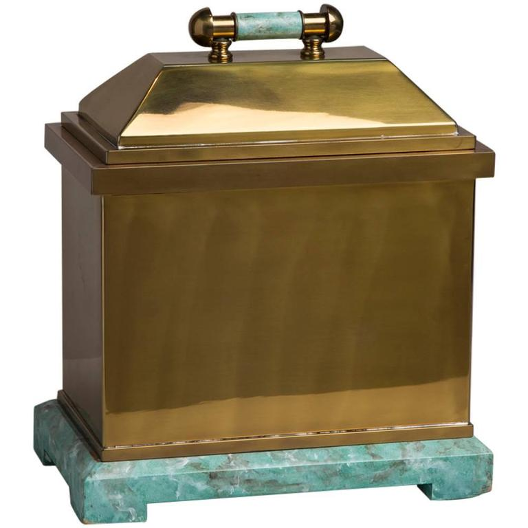 Oversized Lorin Marsh Brass and Simulated Green Stone Box For Sale