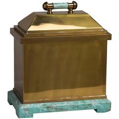 Oversized Lorin Marsh Brass and Simulated Green Stone Box