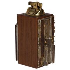 Brutalist Resin Detailed Lighter, 1950s-1960s