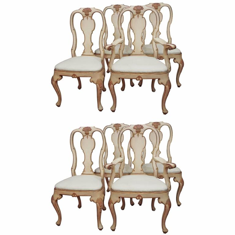 Set Of Eight Painted Rococo Style Dining Chairs At 1stdibs