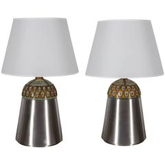 Pair of Unusual Moroccan Ceramic and Brushed Chrome Table Lamps