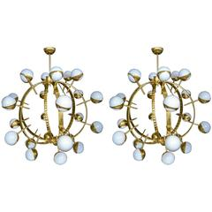 Pair of Round Brass Chandeliers