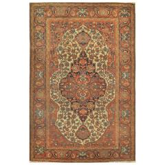Antique Small Hand-Knotted Persian Malayer Rug