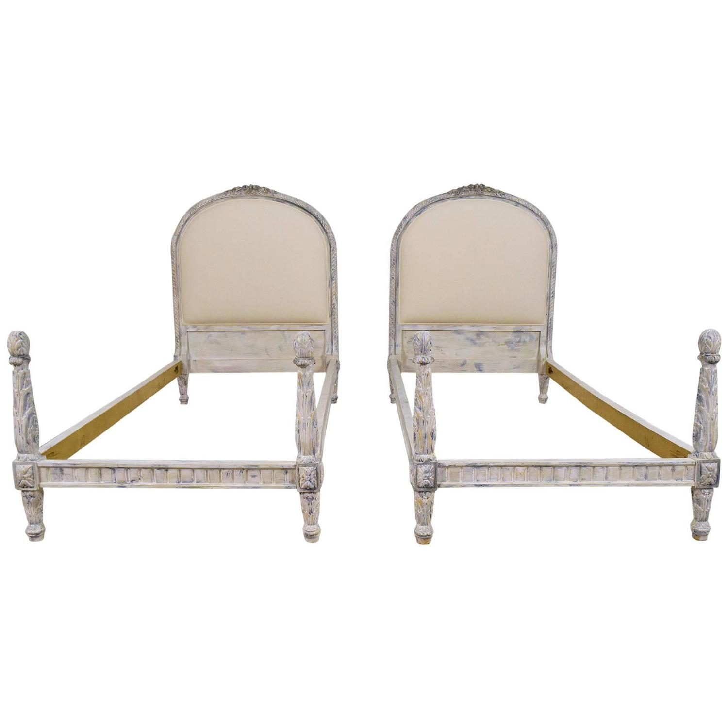 Pair of antique french louis xvi painted twin size bed for Twin bed frames for sale