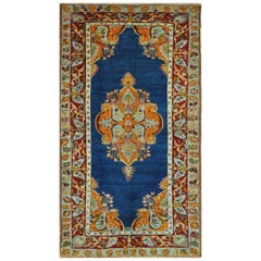 Antique Hand Knotted Wool Blue Turkish Oushak Rug