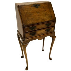 Petite Queen Anne Style 1880s Walnut Slant-Front Desk on Cabriole Legs