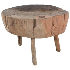Low Rustic Organic Butcher Block Three-Legged Table