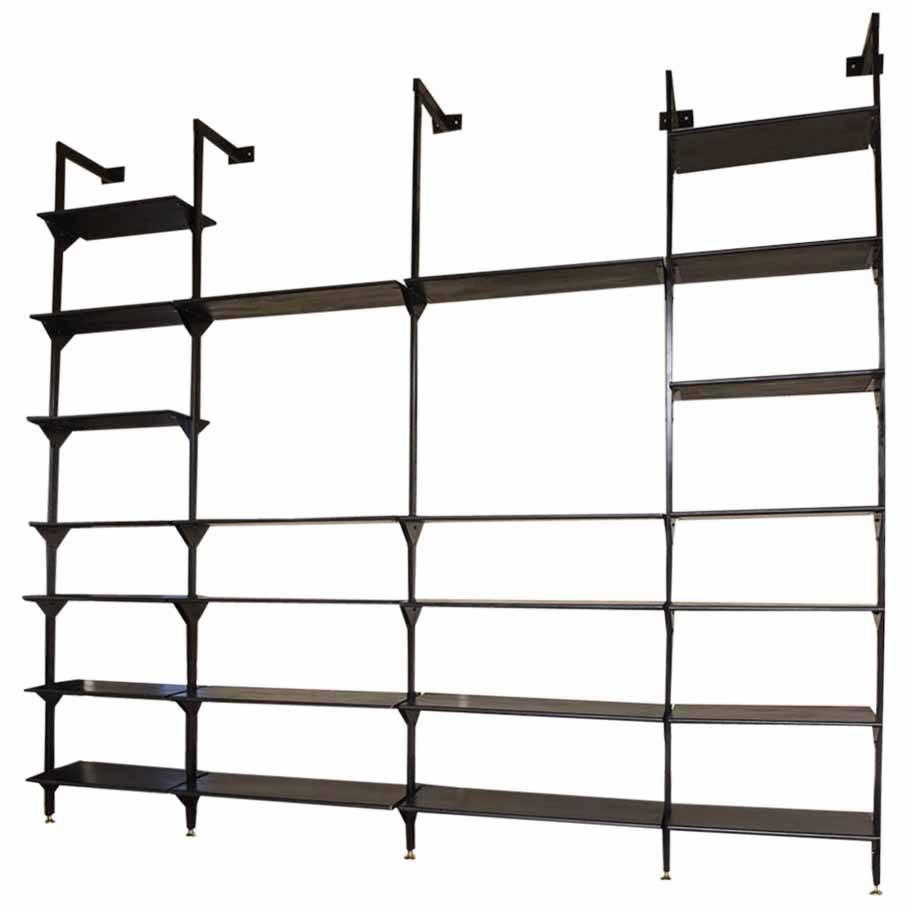 Rare italian wall mounted library or shelving system at Wall mounted shelf systems