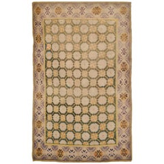 Small Antique Hand Knotted India Cotton Agra Rug