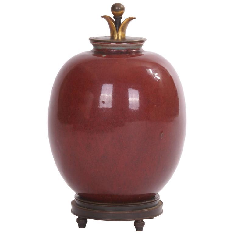 Carl Halier Lidded Jar for Royal Copenhagen in Oxblood Glaze, 1930s