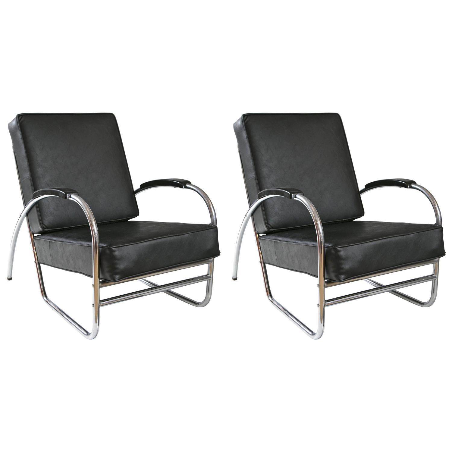 Wolfgang Hoffmann Style Leather and Chrome Club Chairs by Royal
