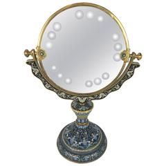 Chinese Cloisonne Vanity Mirror with Engraved Decoration
