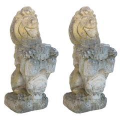 Pair English Stone Lions