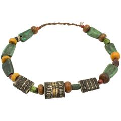 Antique Silver and Resin Necklace from Himalayan Nepal