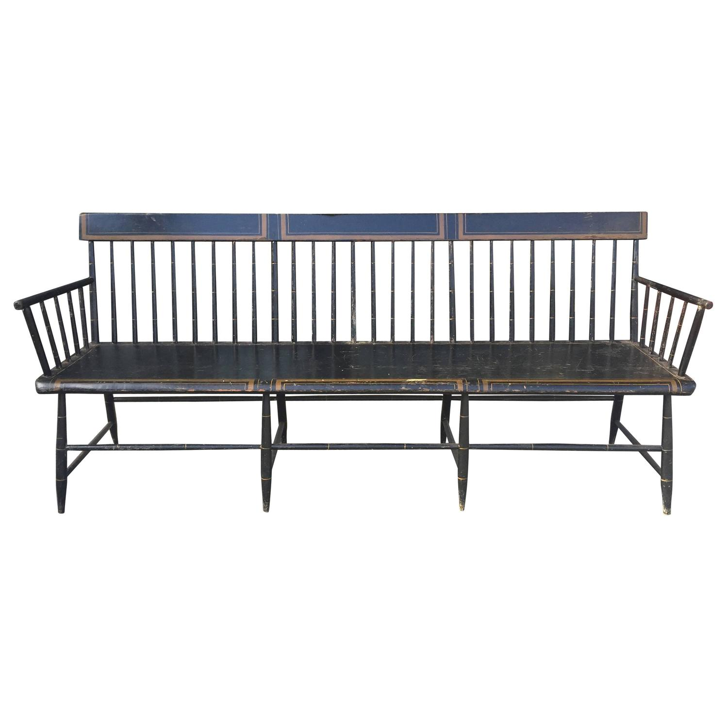 American Painted Windsor 19th Century Bench At 1stdibs