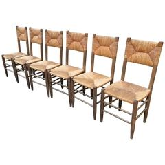 Charlotte Perriand Set of Six Rush Chairs in Vintage Condition