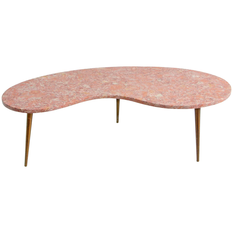 Rene Brancusi Pink Marble Brass Leg Kidney Mid Century Coffee Table At 1stdibs
