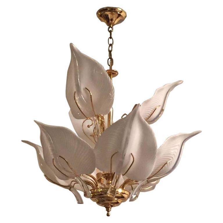 Italian Mid Century Murano Glass Calla Lilies Chandelier By Franco