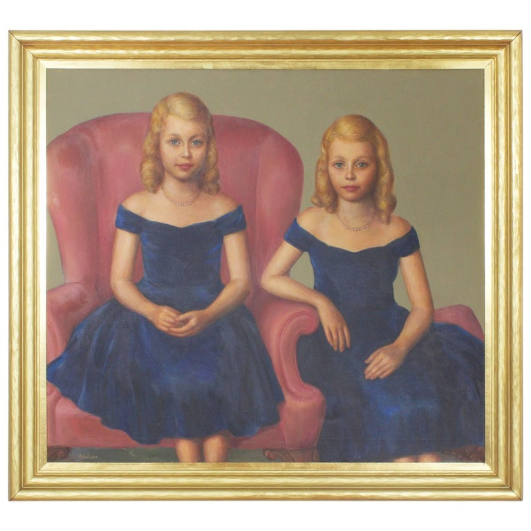 Mid Century Oil Painting of Twins For Sale