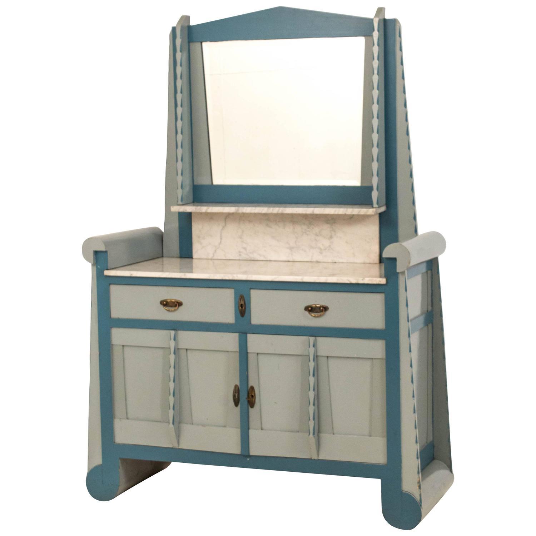 Rare Art Deco Amsterdam School Washstand With Mirror For