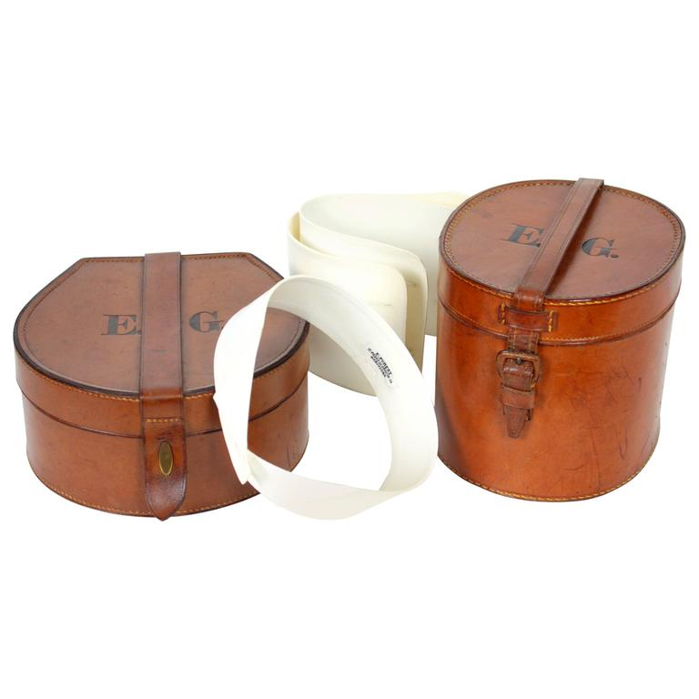 Set of Antique Gentleman's Collars and Cuffs Leather Boxes