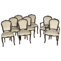 Set of Eight French Walnut White Mohair Louis XV Dining Chairs and Two Armchairs