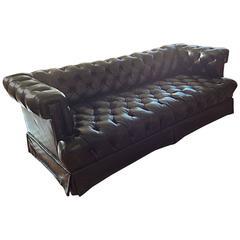 Tufted Black Leather Sofa