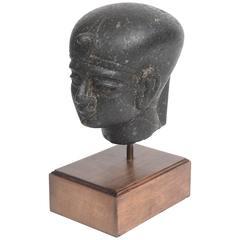 19th c. Basalt Head of Egyptian Pharaoh Tuthmosis, 18th Dynasty