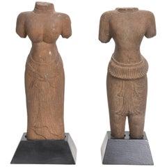 Pair of Khmer Sandstone Torsos of Uma and Vishnu, 11th c.