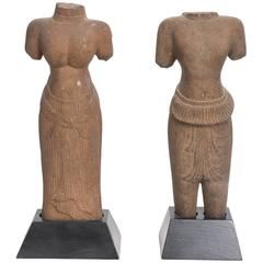 Pair of Khmer Sandstone Torsos of Uma and Vishnu, 12th c.