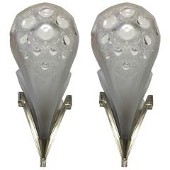 Pair of French Art Deco Wall Sconces Signed by Muller Freres