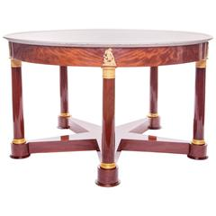 Empire Mahogany, Gilt Bronze Five-Legged Center Table with a Marble Top