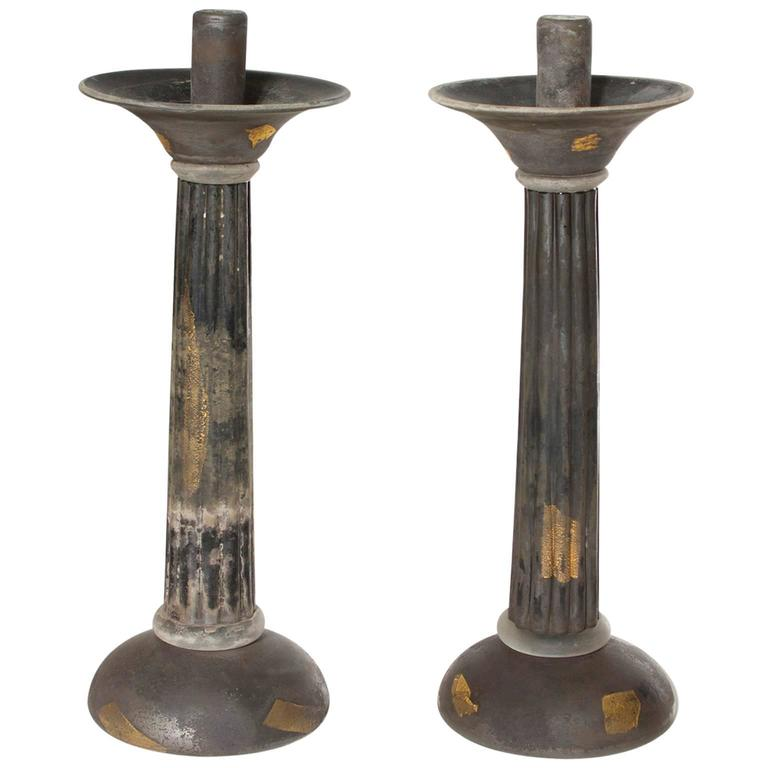 Italian Venetian, Pair of Candlestick, Blown Murano Glass, Gold Grey Cenedese For Sale