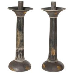 Italian Venetian, Pair of Candlestick, Blown Murano Glass, Gold Grey Cenedese