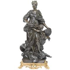 Large French Bronze on a Gilt Bronze Base