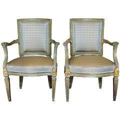 Pair of Italian 18th Century Neoclassical Painted and Parcel-Gilt Armchairs