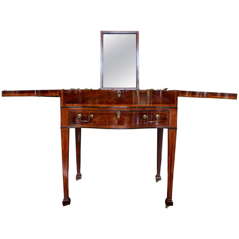 Rare and Elegant George III Inlaid Mahogany Gentleman's Dressing Table