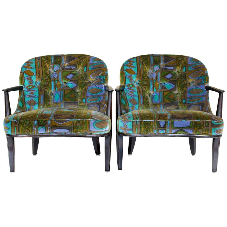 Pair of Edward Wormley for Dunbar's Janus Collection Ebonized Mahogany Armchairs For Sale