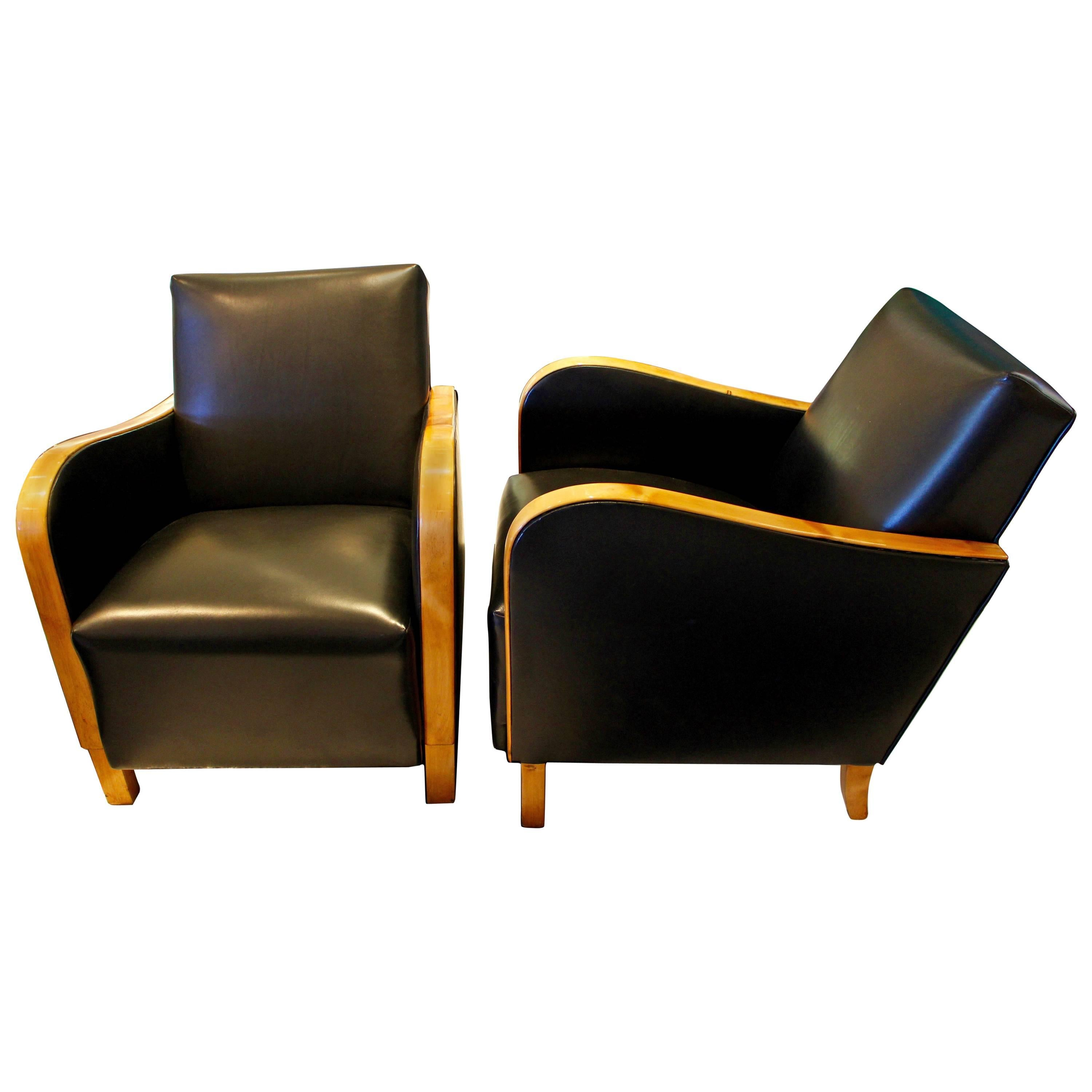 Pair of Swedish 1930s Black Leather Art Deco Club Chairs with Bentwood Frame