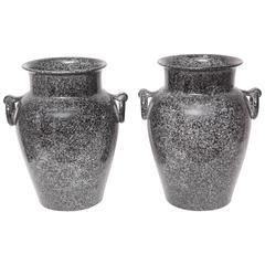 Pair of Midcentury Glazed American Pottery Urns in Black and Gray