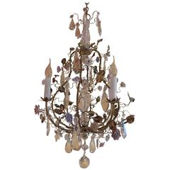 French Louis XV Style Gilt Bronze Chandelier with Porcelain Flowers and Chrystal
