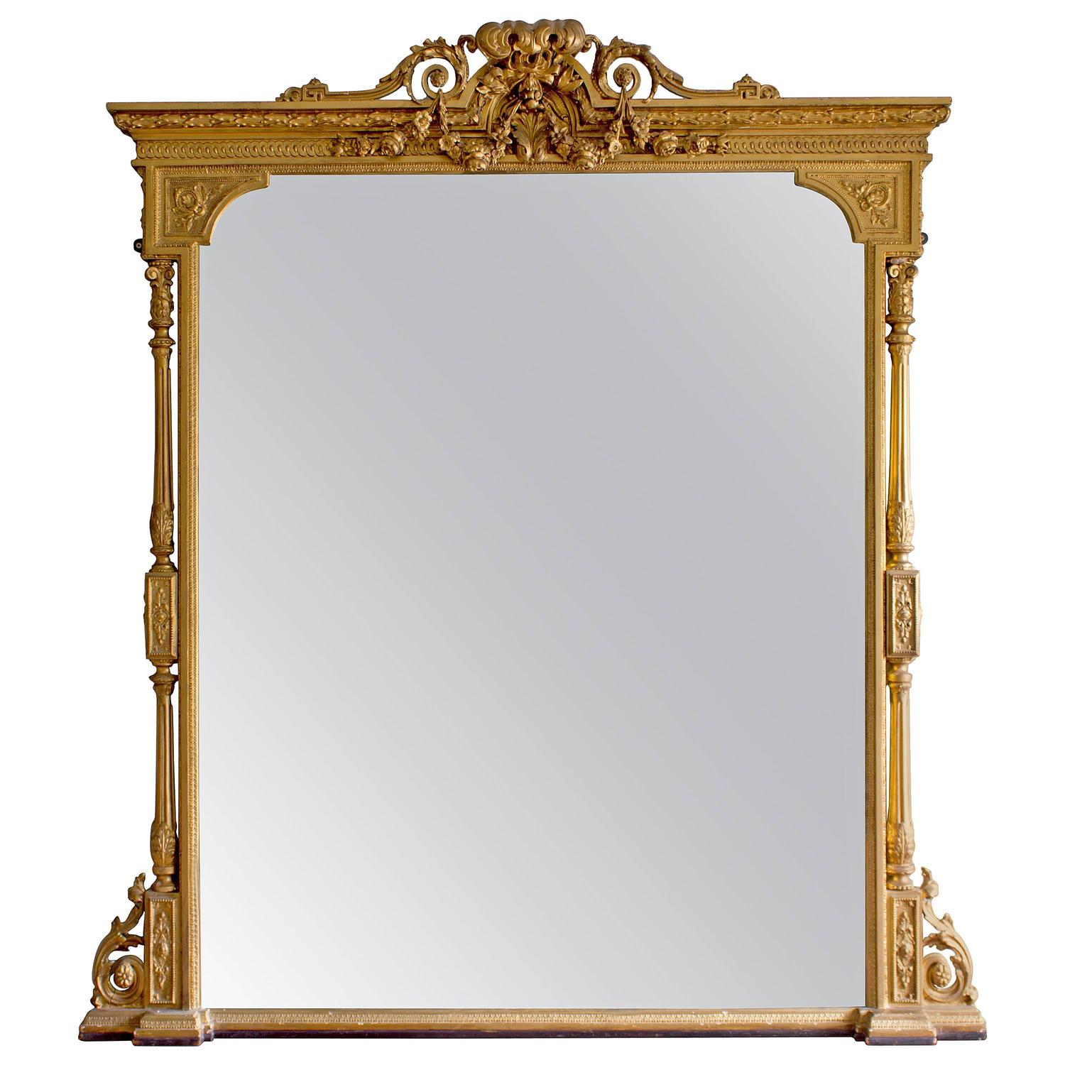 Mid victorian giltwood overmantle mirror for sale at 1stdibs for Fireplace mirrors
