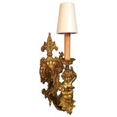 Romantic French Gold Leaf Bronze Cherub and Fleur de Lis Sconce