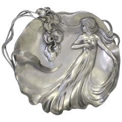 Art Nouveau Pewter Dish by Achille Gamba