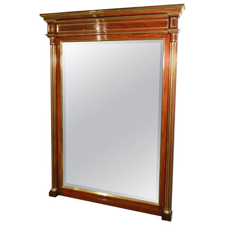 A Fine Quality Mahogany & Brass French Over Mantle Mirror For Sale