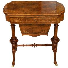 A Beautiful Burr Walnut & Marquetry Inlaid Victorian Period Chess/Backgammon/Wor