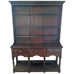 Rare Small Welsh Oak Dresser with rack and  potboard to base c.1770